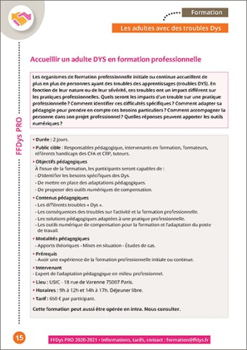 Formation FFDys Pro - Accueillir un adulte DYS en formation professionnelle