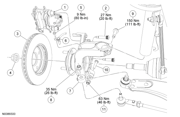 Ford Focus Service Manual :: Front Suspension Wheel