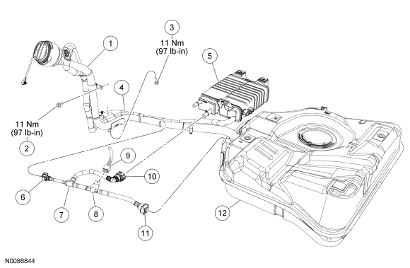 Ford Focus Service Manual :: Fuel Vapor Tube Assembly