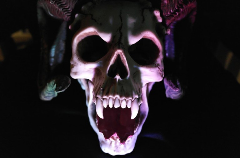 Gaping skull with vampire teeth