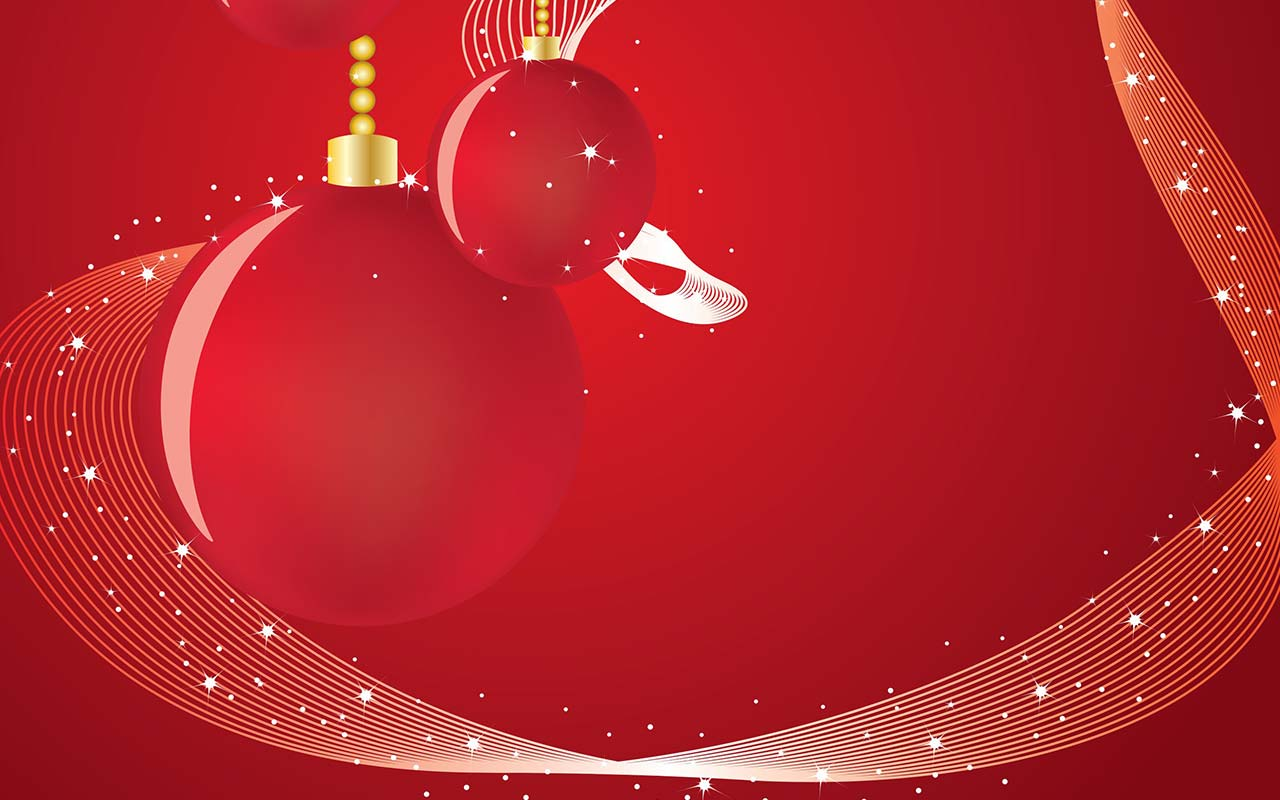 hight resolution of red christmas background with ornaments