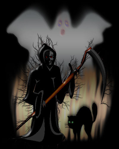 Christmas Wallpaper Gif Animations Grim Reaper Ghosts And Black Cats Halloween Background