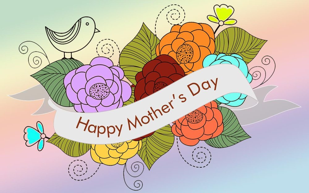 medium resolution of happy mother s day with flowers and bird