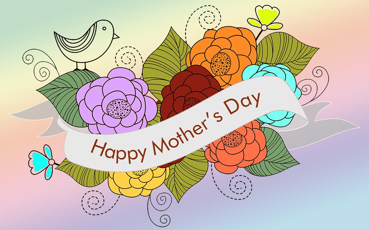 hight resolution of happy mother s day with flowers and bird