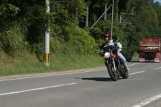 Sylvain a moto.