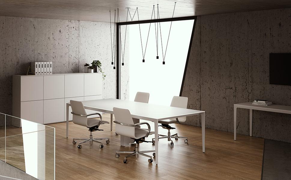 Pareti divisorie, scrivanie, sedute, cassettiere. Arredamento Ufficio Mantova Fgm Giambellini