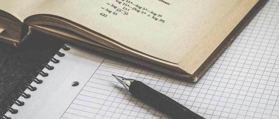 maths book, notebook, pen
