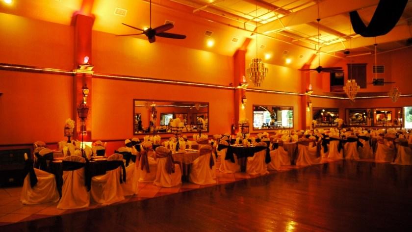 Herreras Reception Hall Amber LED Uplights Full Side Wall From Inside
