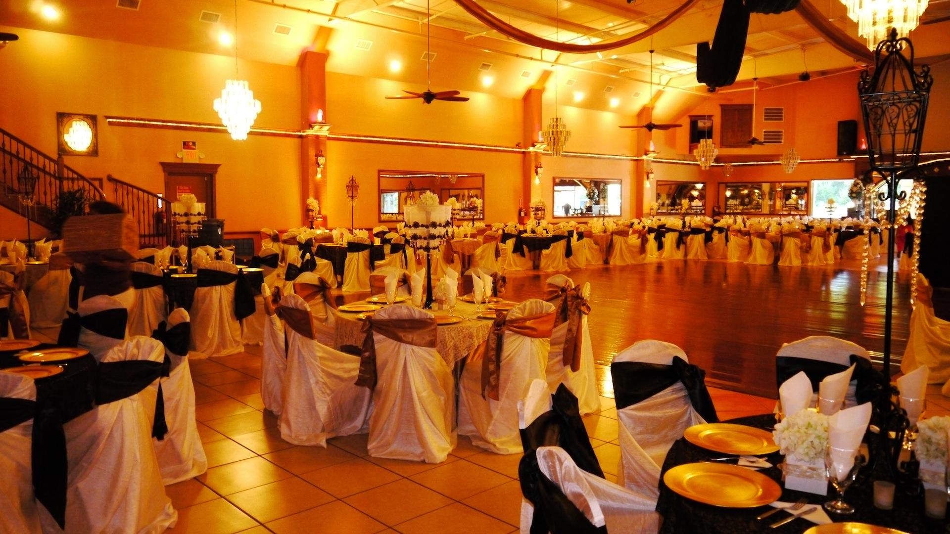 Herreras Reception Hall Amber LED Uplights Side Wall