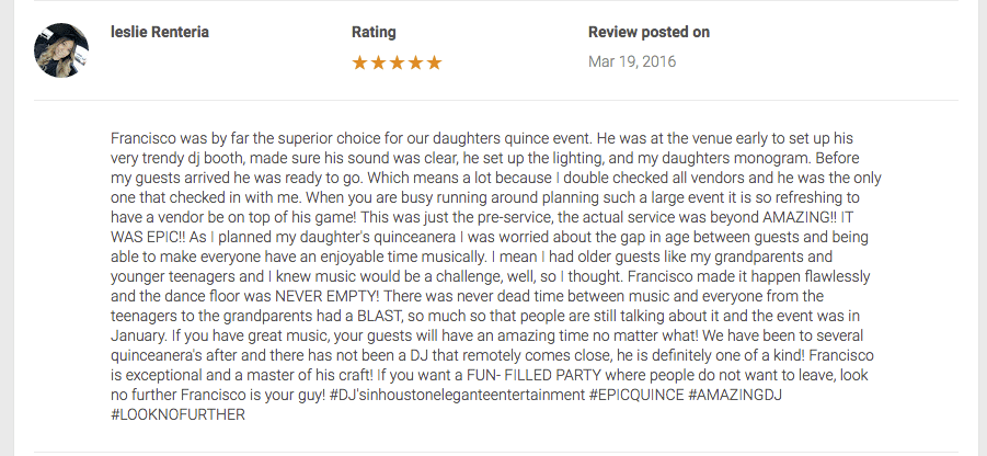 Quinceanera DJ houston Reviews Francisco Awesome