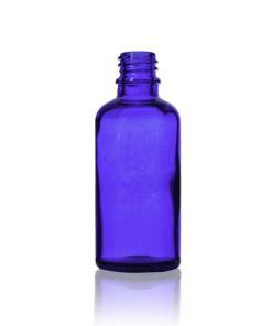 50 ml Euro Cobalt Blue Round Glass Bottle with 18-DIN Neck Finish