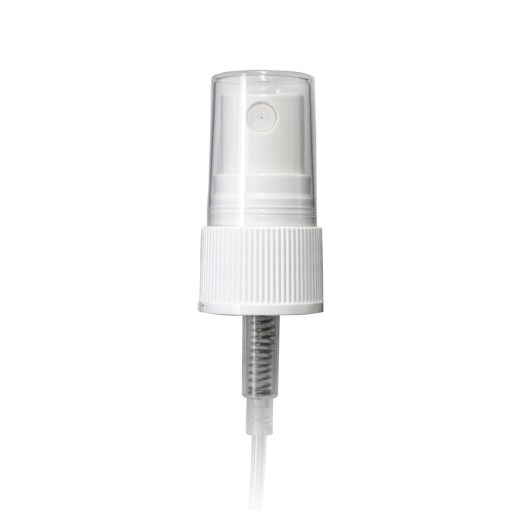 White PP 20-410 Ribbed Skirt Fine Mist Fingertip Sprayer with Clear Overcap