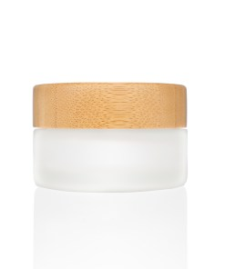 30g Frosted Glass Cream Jar with Bamboo Lid