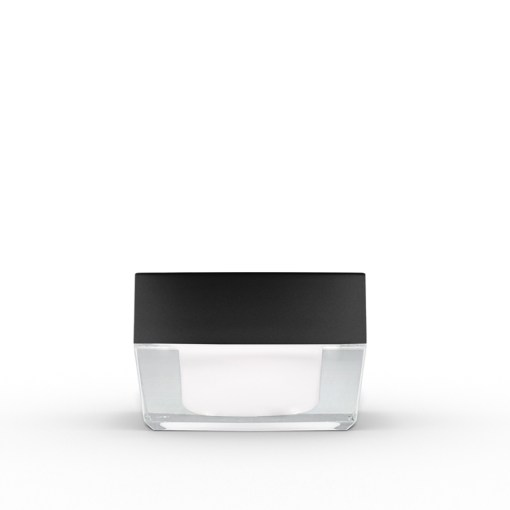 15g Square Acrylic Jar with Black Lid