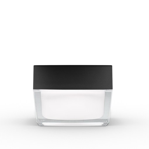 50g Square Acrylic Jar with Black Lid