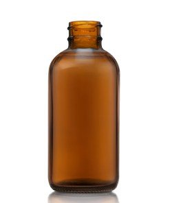 4 oz Boston Round Amber Glass Bottle with 24-400 Neck Finish