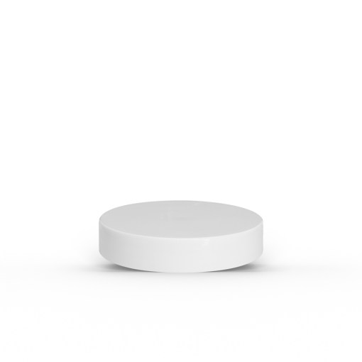 White 53-400 PP Smooth Skirt Lid with Foam Liner