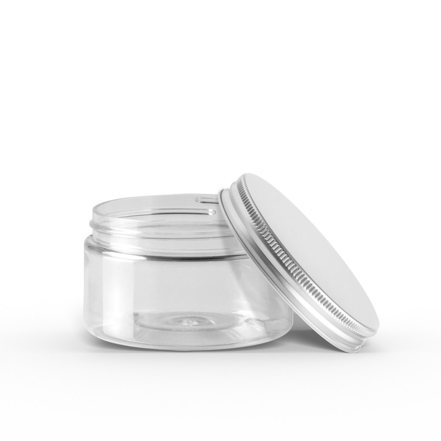 Plastic Jar with Silver Lid Pet Care Packaging
