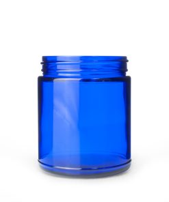 9 oz 70-400 Glass Cobalt Blue Straight Sided Round Jar