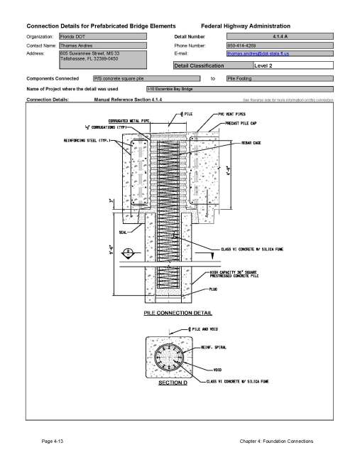 small resolution of this data sheet shows the connection between a prestressed concrete square pile and pile footing