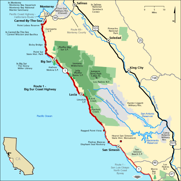Route 1 Big Sur Coast Highway Map America39s Byways