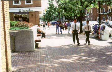 photo of a wide, brick sidewalk in Alexandria, Virginia