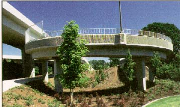 photo of a circular access ramp and the surrounding landscape