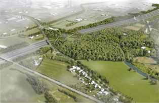 Aerial view of a section of the ring road surrounding the city of Utrecht. The Photo shows parkland with trees and greenery built over the deck of the highway.