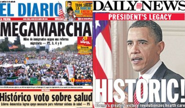 New York newspapers reflect different accounts of what happened Sunday in D.C.