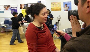 NYC Immigrant Affairs Commissioner Fatima Shama speaks with reporters at a census fair in Jackson Heights, Queens - Photo: John Rudolph.