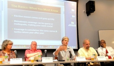 Panelists Susan Stamler, Andrew Beveridge, David Dyssegaard Kallick, Bob Hennelly and Errol Louis at July 15 NYCMA election workshop
