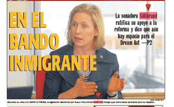 "Gillibrand's evolution: ""On the Immigrant Side"" read El Diario's cover on October 18, 2010"