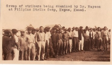 Filipino workers at Hawaiian strike camp, circa 1925
