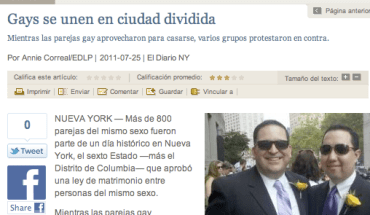 El Diario published a story about same-sex marriage the day after the law took effect in New York