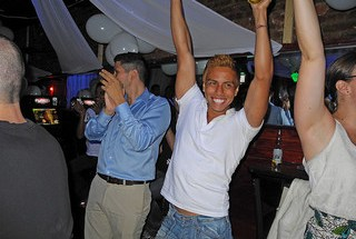Gay Latinos in Queens celebrate the passage of marriage equality in New York State