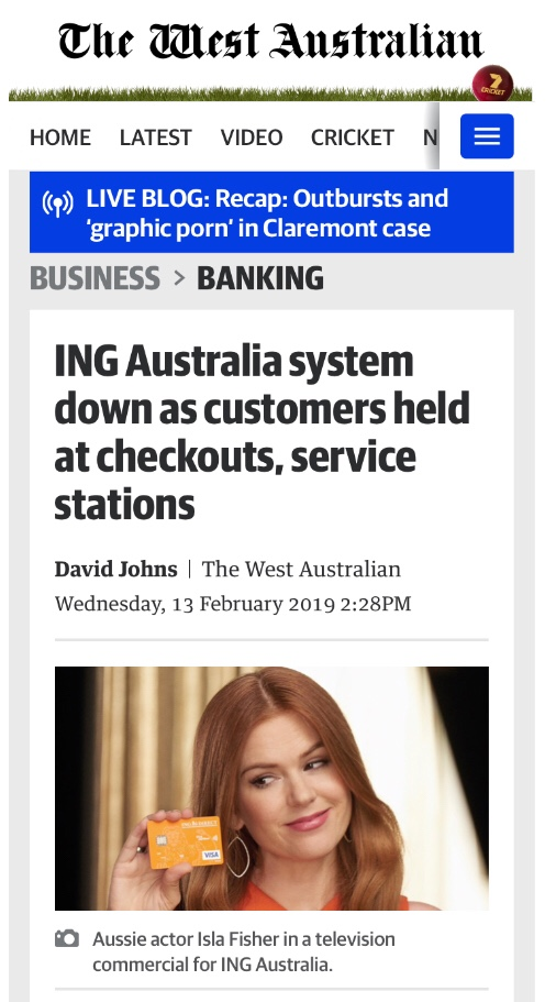 ING Australia system down as customers held at checkouts