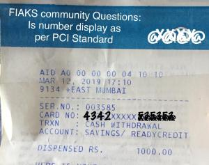 Is Citi Bank ATM Withdrawal Slip Printing As Per PCI DSS