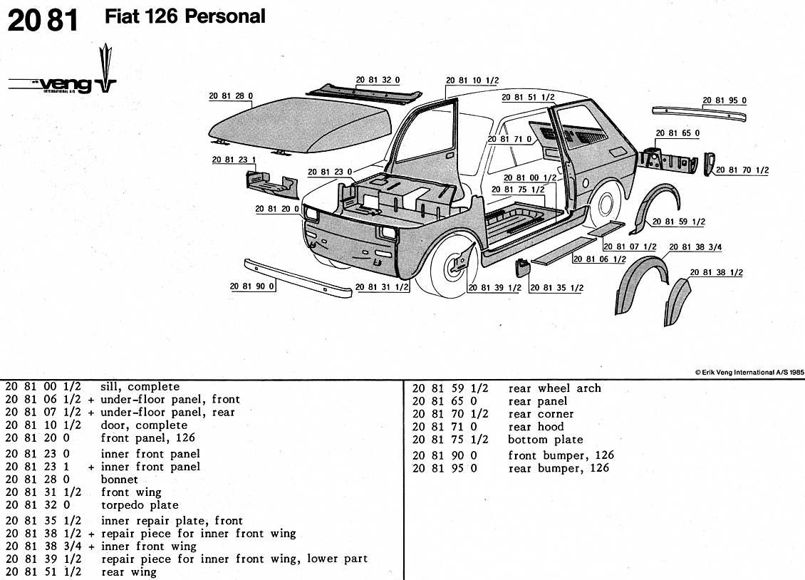 Veng Panels Fiat 126 Models