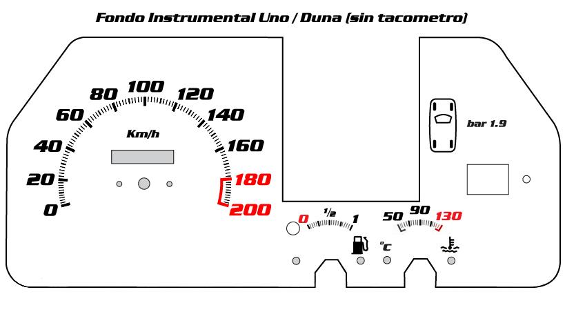 Instrumental Duna CL sin tacometro fondo blanco : Fondos