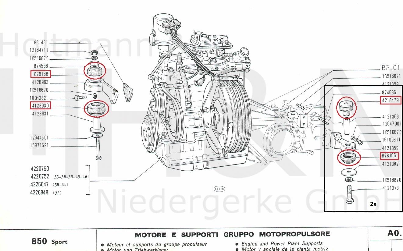 Motor (2x) & Getriebegummis (4x) Satz Fiat 850 Sport Spider