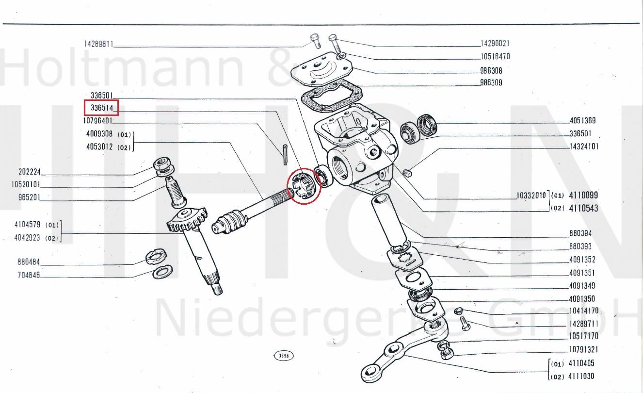 Lenkgetriebe Verschlußmutter Fiat 500, 600, 850, Bianchina