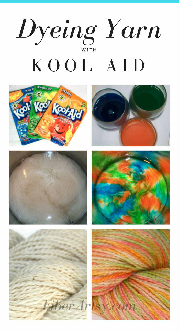How to dye beautiful yarn with Kool Aid! A fun dyeing project that's safe for kids, too. A FiberArtsy.com tutorial