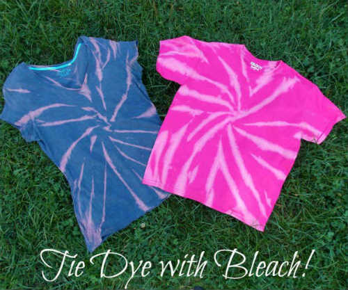 Supplies for reverse tie dyeing with bleach