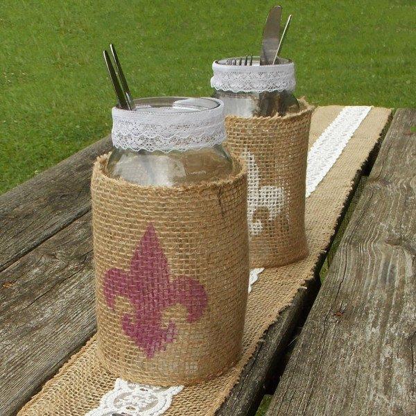 Burlap Wrapped Mason Jar with Fleur De Lis, FiberArtsy.com