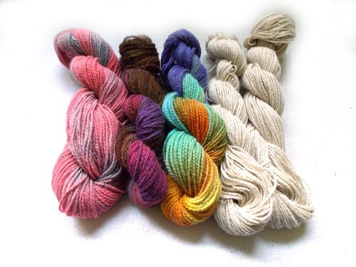 Skeins of wool yarn to make felt diy wool dryer balls