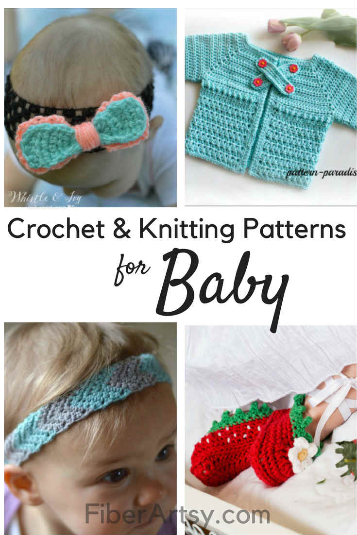 Free Crochet Patterns and Knitting Patterns for Baby. Lots of free patterns including baby blanket patterns, headbands, bows and baby hat patterns