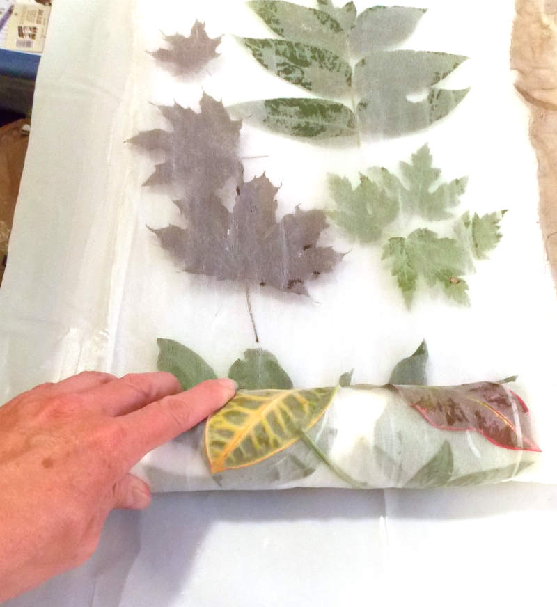 Roll up the fabric and leaves for steaming