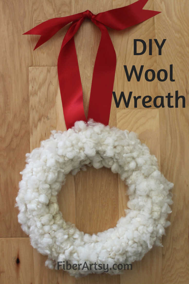 DIY Wool Wreath Super easy way to make a Christmas Wreath out of sheep wool or alpaca fiber