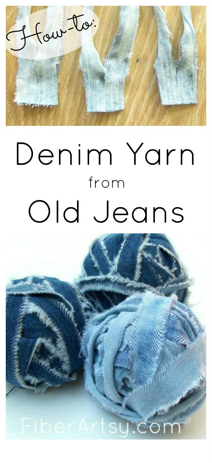 Make Denim Yarn from your old Jeans. Easy step by step DIY tutorial