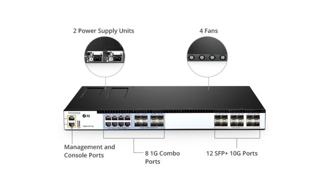 FS 12-port 10GbE SFP+ Switches